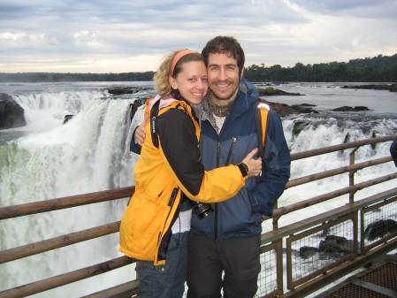 In front of the craziest part of Iguazu Falls in Argentina