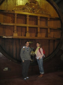 At Weinert Bodega with their biggest cask (44000 L of wine!)