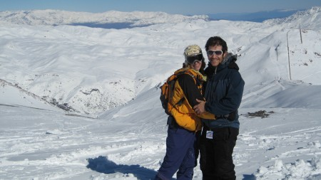 At the top of Valle Nevado in the Andes outside Santiago, Chile