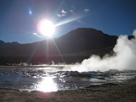 Sunrise and geysers way up high