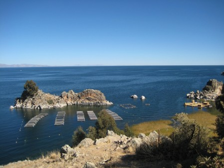 View on our long (8 mile) trek to the boat we took to Isla del Sol