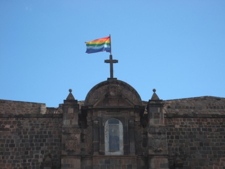 Finally!  Gay rights and catholicism together as one! (actually, this is the Cusco city flag, based on old Inca traditions)