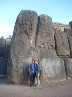 "Next to one of the largest stones (70 tons or more, supposedly) in the Sacsaywaman (""sexy woman"") ruins next to Cusco, a military establishment where the Inca king laid seige to Spanish-occupied Cusco"