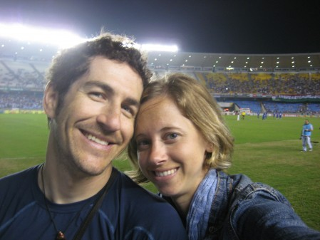 At a futbol match at Maracana stadium