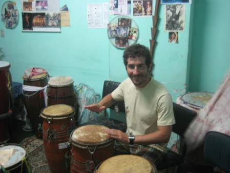 During our percussion class in the Pelourinho area of Salvador..this was so much fun!  Taught by a legit Carnaval percussionist who smiled the entire time