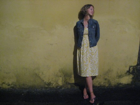 Monica against a wall in the Pelourinho area of Salvador on our last night there