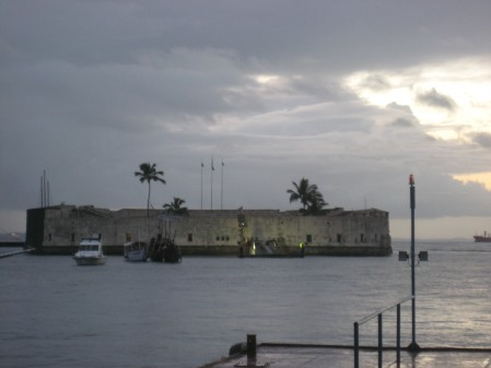 Fort just offshore from the Cidade Baixo of Salvador, after returning from Morro de São Paulo